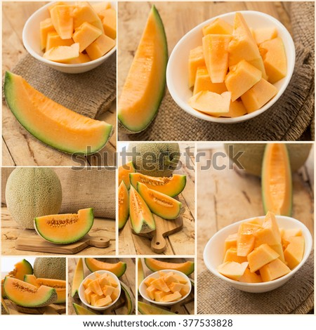 Collage set  shots of a Cantaloupe melon, also referred to as honeydew, cut in different shapes. - stock photo