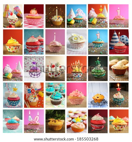 Collage showing delicious and tasty cupcakes with candles, blower and candies - stock photo