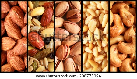 Collage showing different kind of fresh nuts like almond, pistachio, cashew and peanuts - stock photo