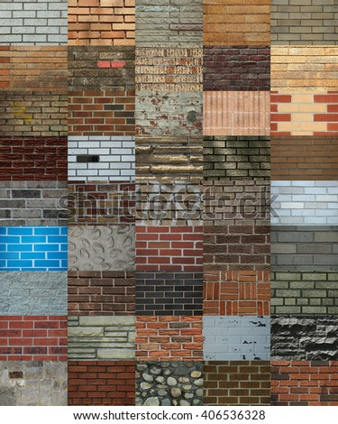 Collage showing different texture of bricks wall