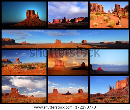 Collage showing different views and formations in Monument Valley - stock photo