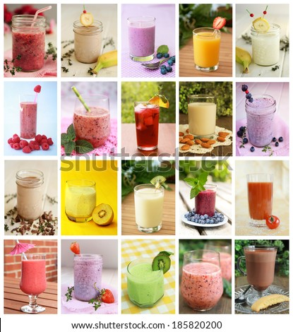 Collage showing differents drink like smoothies, milk and juices - stock photo
