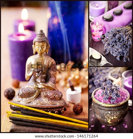 Collage. Spa, meditation, aromatherapy and lavender - stock photo