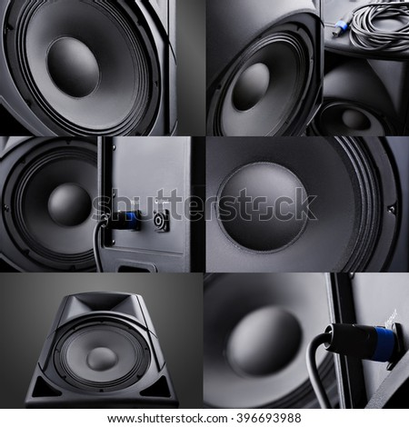 Collage. speaker. Music. Volume. concept - stock photo