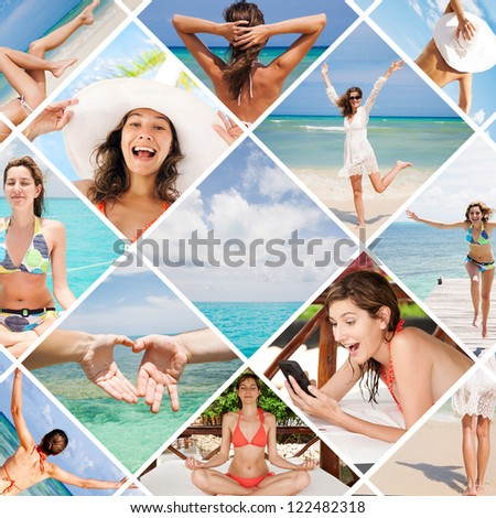 Collage summer holiday of happy beautiful woman in Mexico - stock photo
