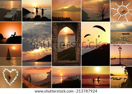 Collage - summer landscape and activities at sunset - stock photo