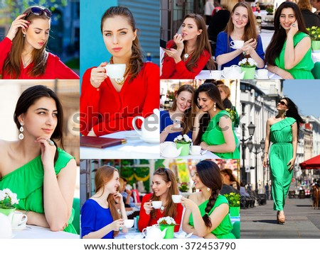 Collage, Three Beautiful young happy women in colorful dress - stock photo
