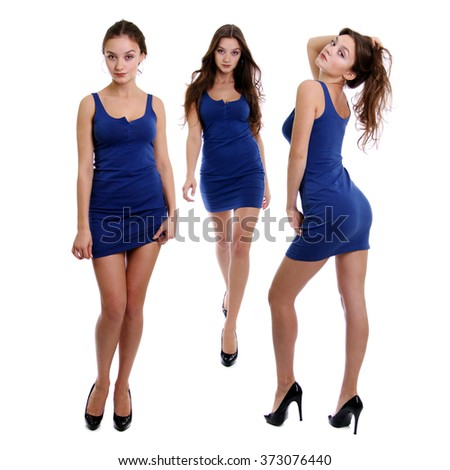 Collage three young women in blue dress, Full length of a beautiful young lady
