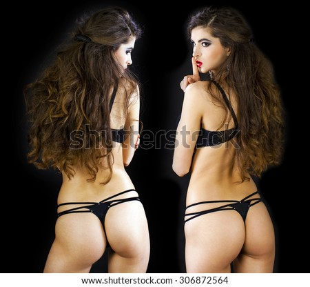 Collage two sexy women. Fashion portrait of a professional models in black sexy underwear, back view, isolated on dark background