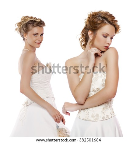 Collage  two young women. Close up portrait of a beautiful girls, isolated on white background  - stock photo