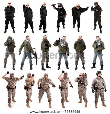 collage,various military soldier poses , isolated in white - stock photo