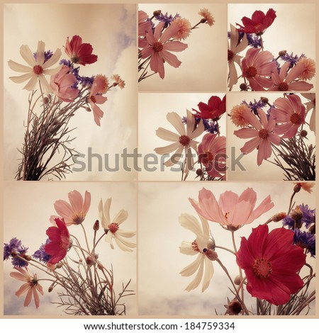 Collage. Vintage floral summer bouquet. Art floral background with paper texture overlay. Retro style. - stock photo