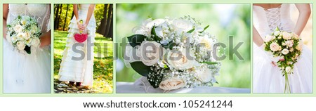 Collage wedding Bouquet - stock photo