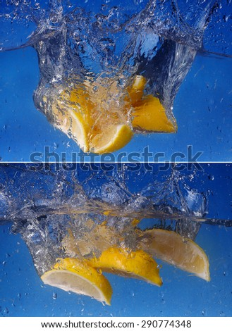 collage  Whole lemon dropped in water against gradient blue background - stock photo