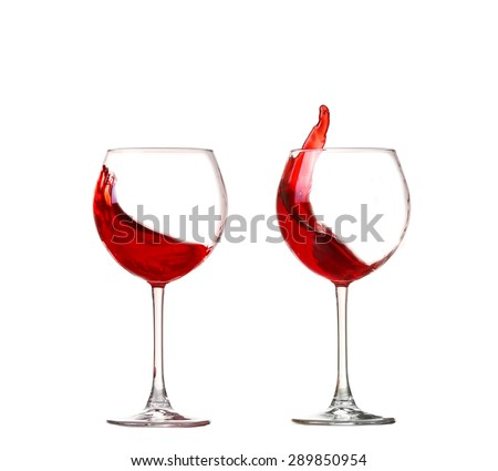 collage Wine collection - Splashing red wine in a glass. Isolated on white background - stock photo
