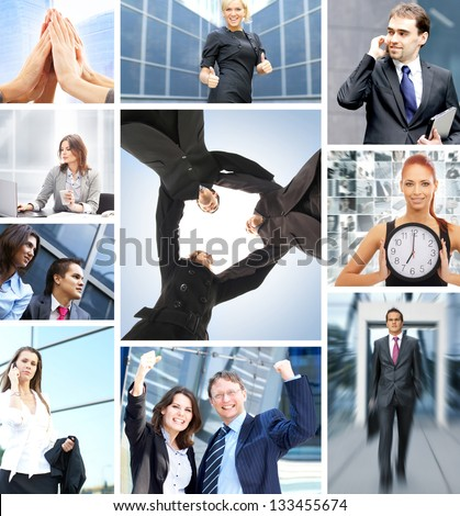 Collage with a lot of different business people working together - stock photo