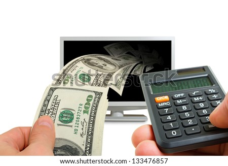 Collage with a monitor, money, calculator, hands.