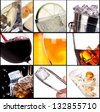 collage with alcohol cocktails - beer, martini, soda,cola,cocktail,wine,whiskey - stock photo
