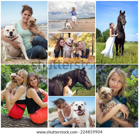 collage with beautiful women and animals - stock photo