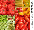 collage with bio vegetables on farmer market, Italy - stock photo