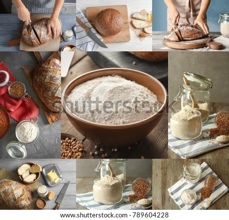 Collage with buckwheat flour and fresh bread