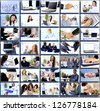 Collage with businesspeople working together and tools - stock photo