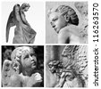 collage with cemetery angels - stock photo