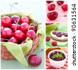 collage with cherries, jam and bread - stock photo
