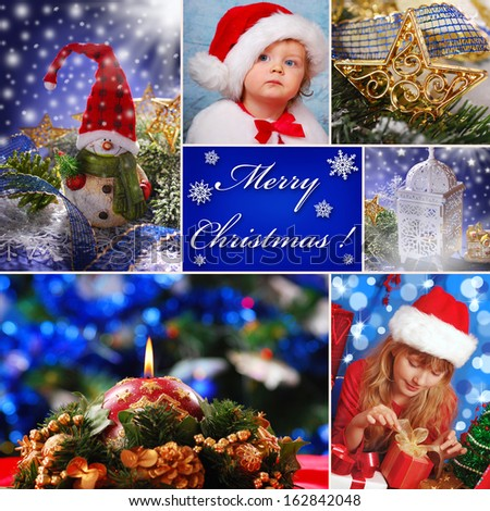 collage with christmas decorations and children in santa claus hat - stock photo