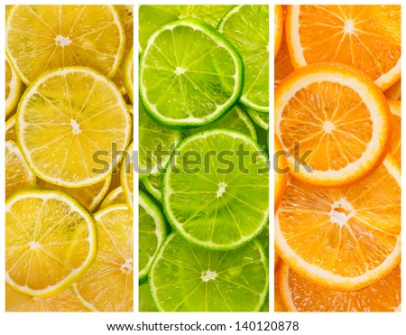 Collage with citrus-fruit of lime. lemon and orange slices - stock photo