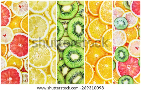 Collage with citrus-fruit slices fresh - stock photo