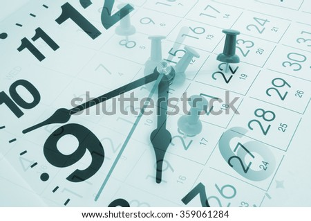 Collage with clock and calendar page with push pins - stock photo