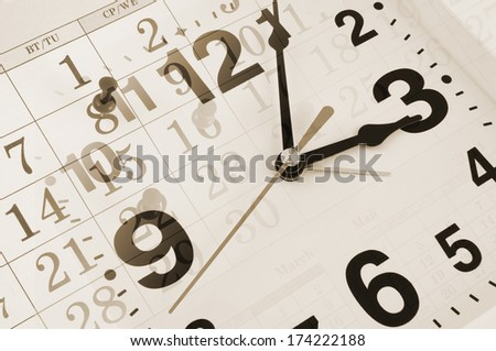 Collage with clock and calendar with pins, time concept