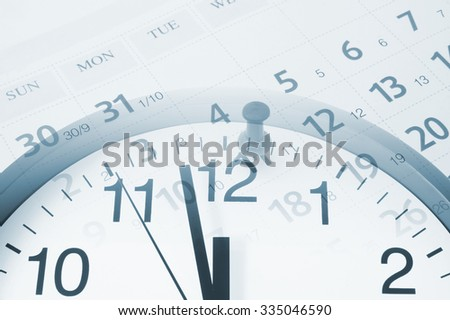 Collage with clock and calendar with push pin, time concept - stock photo