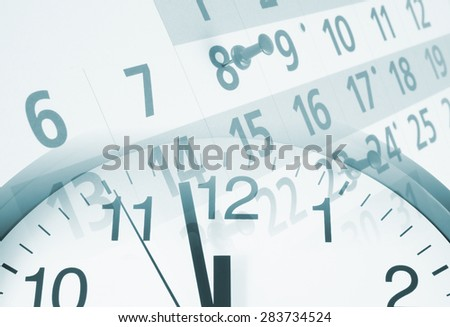 Collage with clock and calendar with push pins, time concept - stock photo