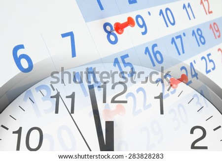 Collage with clock and calendar with push pins, time concept
