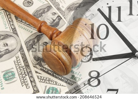 Collage with clock, judge gavel and dollar banknotes, business time concept  - stock photo