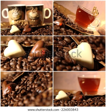 collage with coffee and chocolate