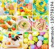 collage with colorful easter decorations and traditional polish dishes - stock photo