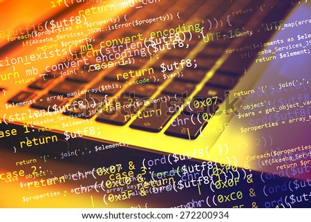 Collage with  computer (notebook) keyboard and program code