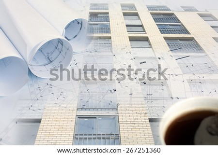 Collage with construction plans and building  - stock photo