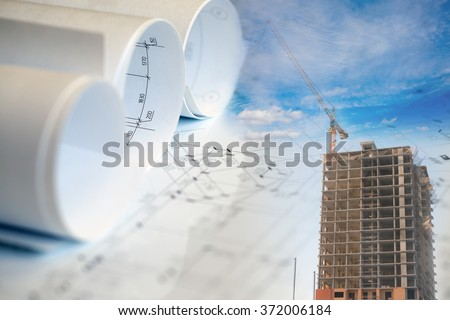 Collage with construction plans, building and crane - stock photo
