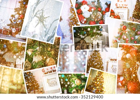 collage with decorated Christmas trees, decor and gifts - stock photo