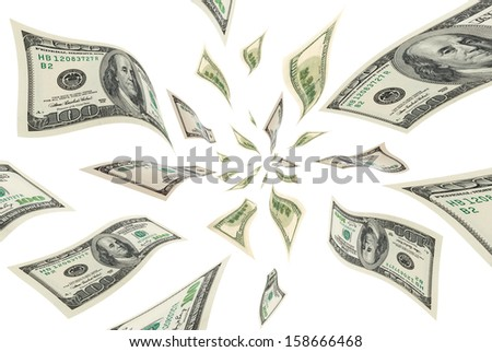 Collage with deformed, flying dollar bills on a white background. - stock photo