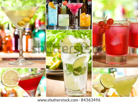 collage with different alcohol cocktails - stock photo