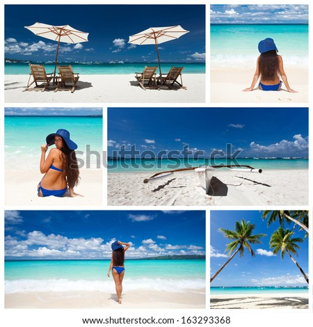 Collage with different caribbean views  - stock photo