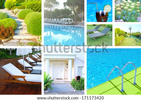 Collage with different photos of luxury touristic hotel - stock photo