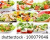 collage with different salad - stock photo