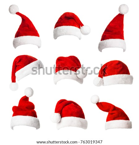 Collage with different shapes of Santa Claus helper hat isolated on white background. Christmas and New Year celebration.