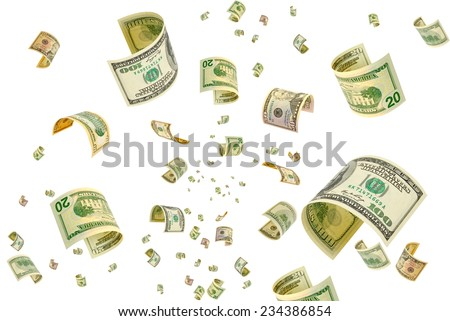 Collage with dollar bills in various denominations. - stock photo